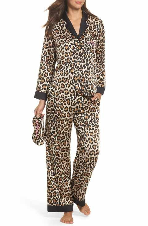 kate spade new york leopard print charmeuse pajamas   sleep mask ... d234990e2
