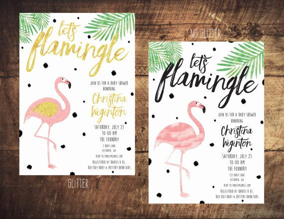 Let's Flamingle bachelorette invitation. Great for Palm Springs or Miami Beach!
