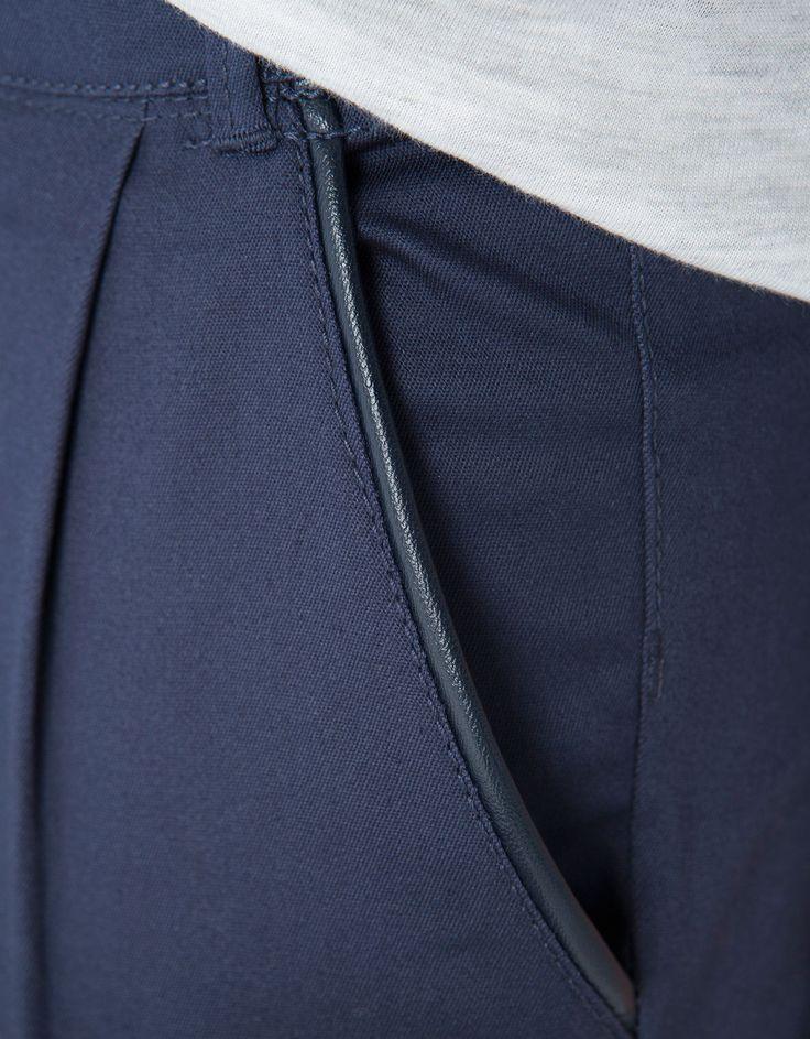 Bershka United Kingdom -Bershka imitation leather detail chinos