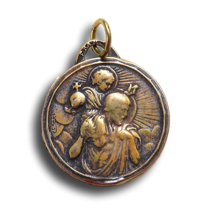 Bronze St Christopher Medal - Patron of travelers - Antique Reproduction
