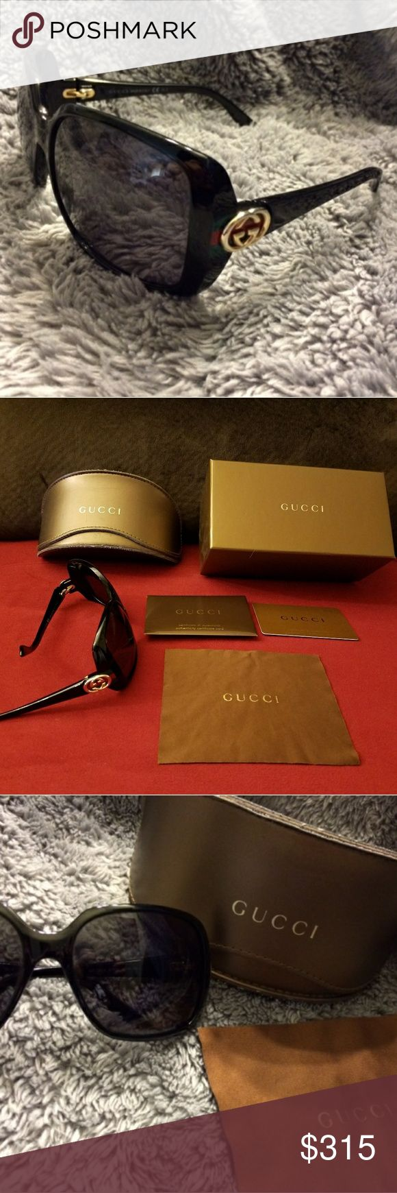 Gucci sunglasses Brand nane:  Gucci   Comes with: Gucci box, Gucci case, Gucci sunglasses, Gucci cloth, and Gucci certificate of authenticity  100% authentic!   Black frames with green / red / gold accents  Dark tint (perfect! )  Everything is in perfect condition (the case has minor scratches on it ) Gucci Accessories Sunglasses
