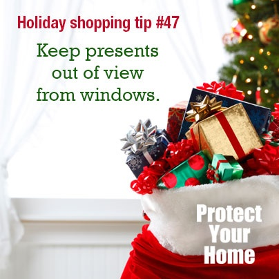 Holiday Shopping Tip: Keep presents out of view from windows. #HolidaySafety #AllWiredUp Alarm Monitoring Starts at $14.95 a month-No contract! 478-755-9700 www.allwiredupga.net