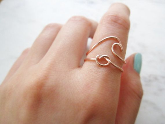 wave ring love knot ring love knot ring set wave by TheHumbleRing