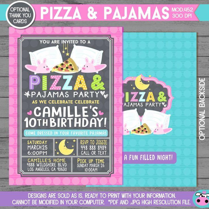 PRINTABLE Pizza & Pajamas Party Optional Thank you