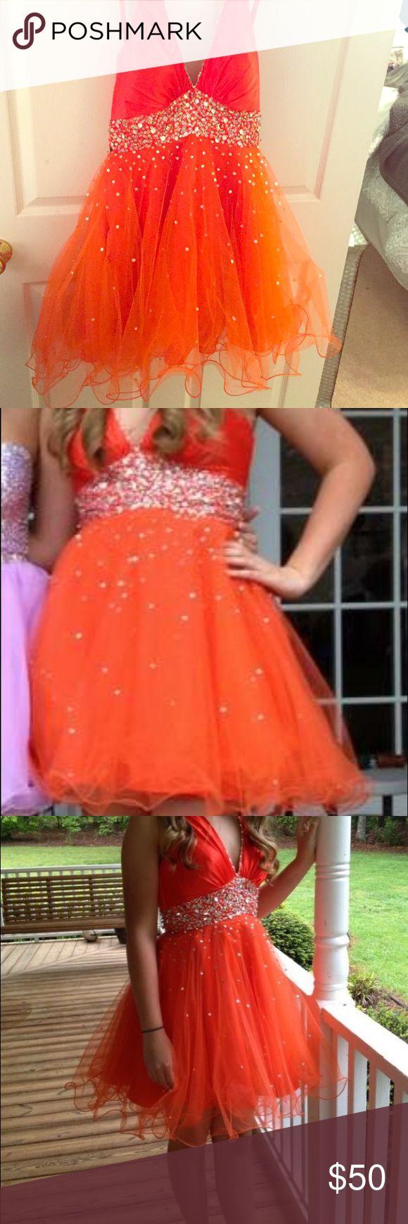 Orange formal dress Clemson Orange formal dress. Halter top ( perfect for a dance instead of strapless) Mori Lee Dresses Prom
