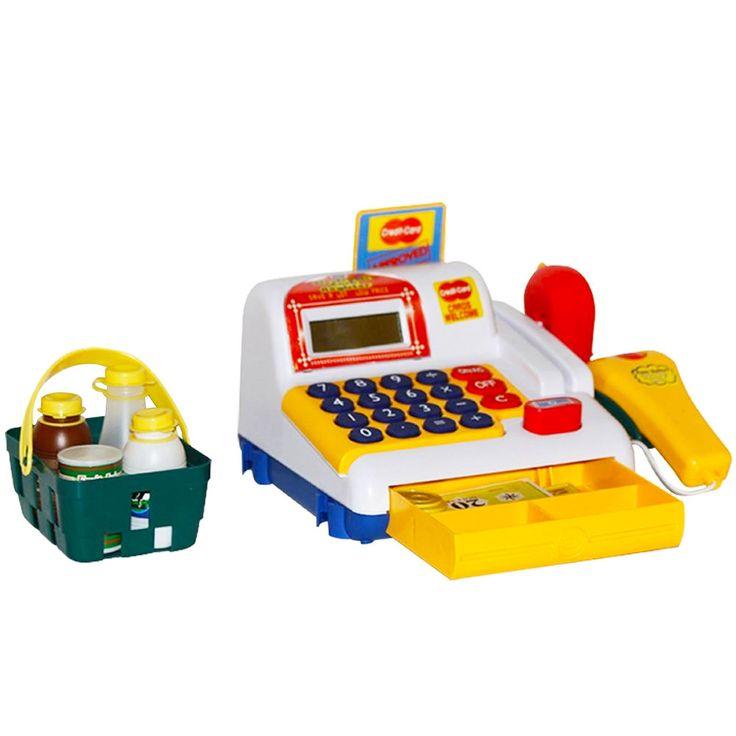 As crianças poderão retratar em suas brincadeiras como é manusear uma caixa registradora, podendo reunir-se com os amiguinhos para uma divertida compra no mercado, podendo somar a quantia em reais gasta, o brinquedo acompanha acessórios que dão mais realidade na hora de brincar. Ideal para crianças que gostam de aprender brincando. Além disso, ela possui scanner, cartão de crédito, moedas, cédulas, cesta com produtos e calculadora.