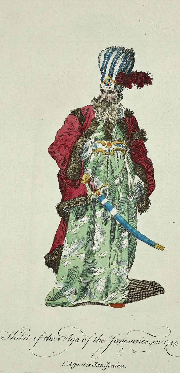 Ottoman court: Habit of the 'ağa' (head) of the Janissaries, in 1749.  By Joseph-Marie Vien (1716-1809).