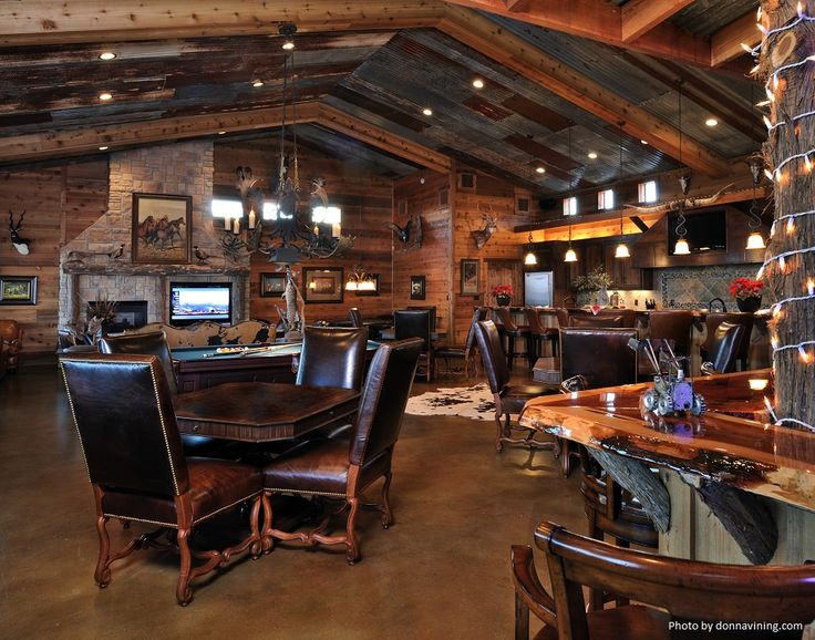 Man Cave Room Additions : Tile flooring ceiling wood beams and hanging light