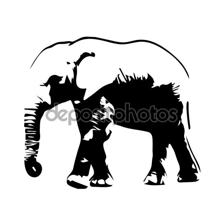 Скачать - Векторный силуэт слона — стоковая иллюстрация #92766886