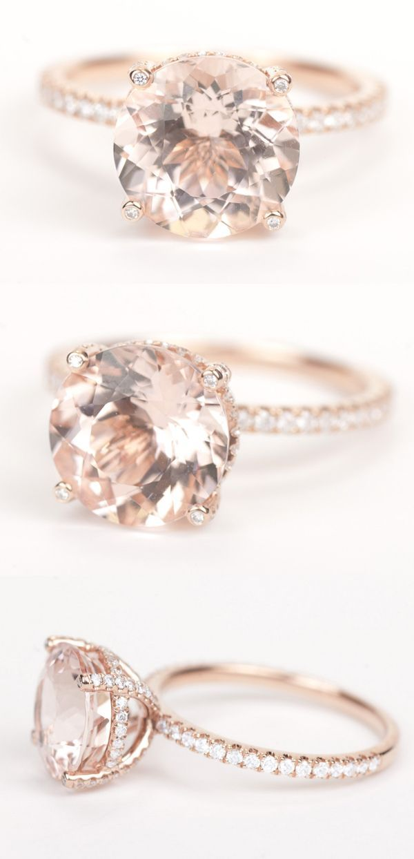 Gorgeous round morganite diamond engagement ring in rose gold!