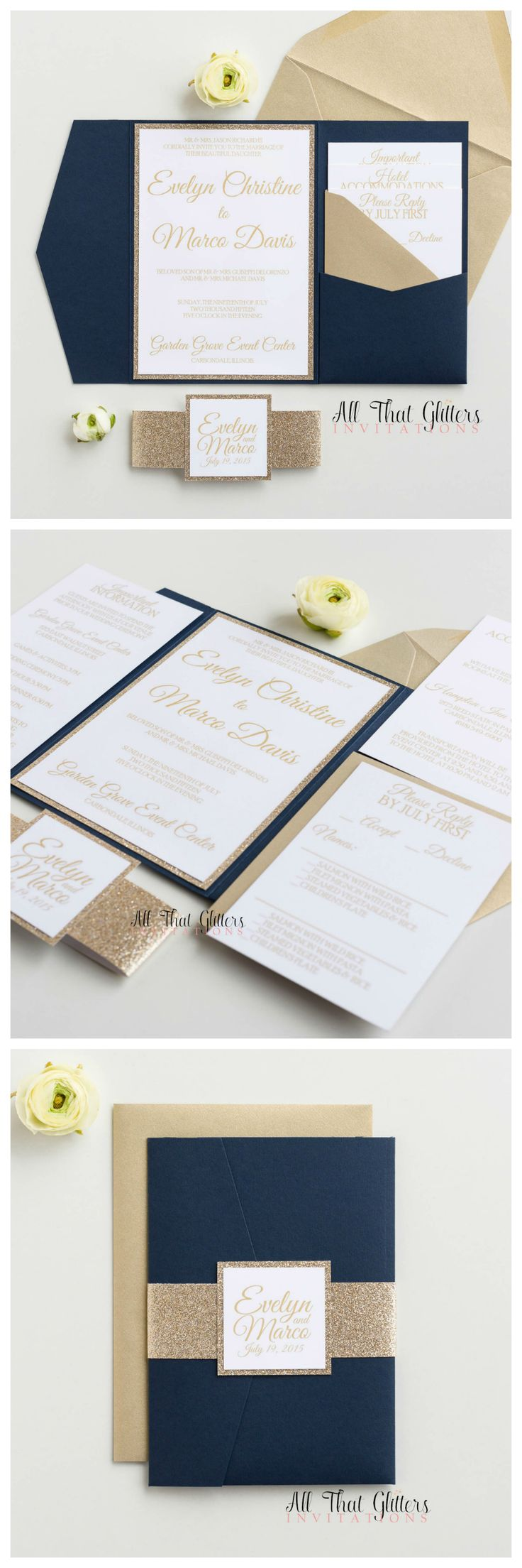 wedding invitations east london south africa%0A Navy and gold wedding invitations are THE TOP trend for      wedding  inspiration  We paired