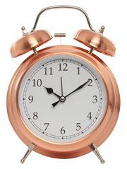 Rise and shine £8  Cool copper alarm clock with traditional bell alarm. Wakey time!  George  Traditional alarm clock