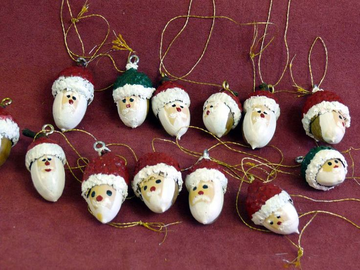 Santa Faces - ACORN   Hand Painted Christmas Tree Ornaments. $12.00, via Etsy.