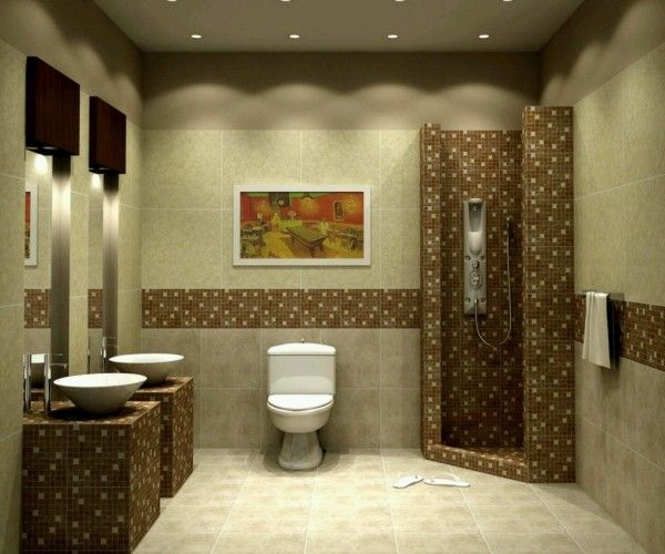 Image of Extraordinary Small Bathroom Tile Ideas for Shower Wall Panels and Double Vanity Base with Round Porcelain Vessel Sink Alongside Ceramic Toilet Seat also Framed Paintings with Small Bathroom Vanities Tops Beach Cottage Bathroom Vanities Tub Flooring for Cottage