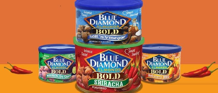 Blue Diamond Bold Hot and Spicy Almonds 4Pack Bundle: 1-Sriracha, 1-Habanero BBQ,1-Wasabi and Soy Sauce, 1-Salt and Vinegar Varieties *** Startling review available here  : Fresh Groceries