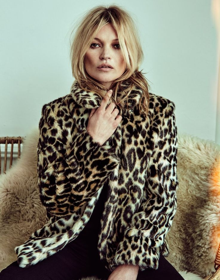 Kate Moss bundles up in leopard print coat from Stella McCartney with Equipment pants for The Edit Magazine June 2016