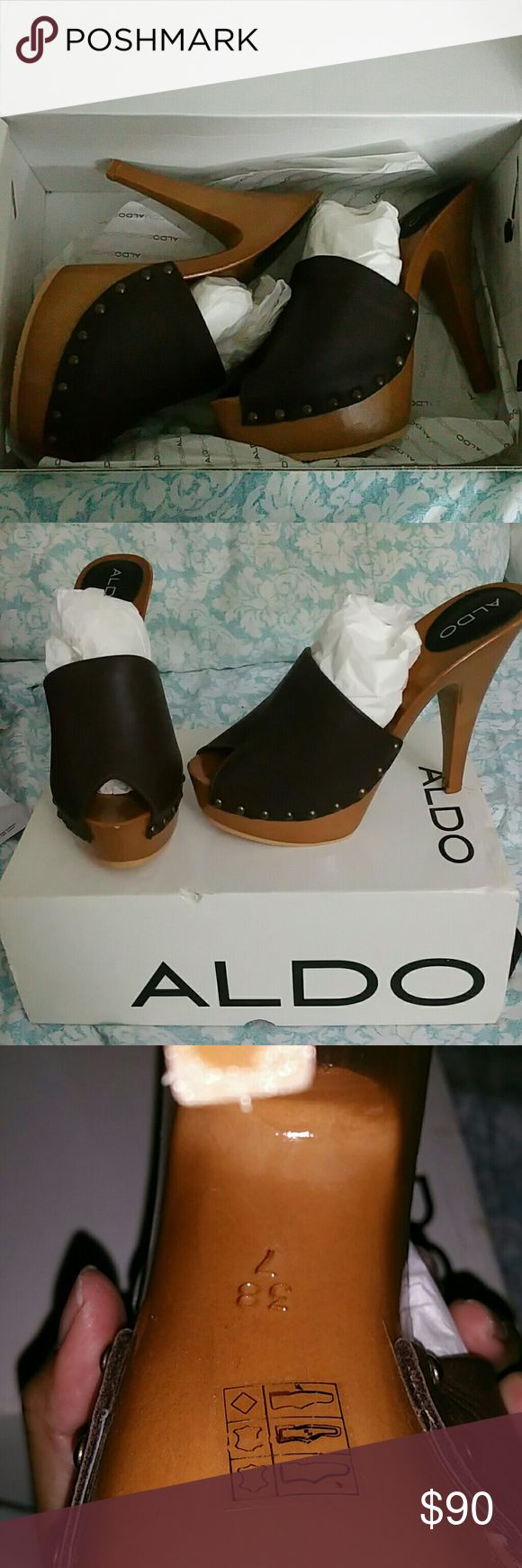 Aldo heels Toe peep, wood look heels Aldo Shoes Mules & Clogs