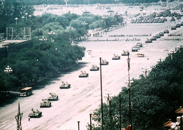 "Here's a little-known wider view of how many tanks the ""tank man"" was stopping during the Tiananmen Square incident in 1989."