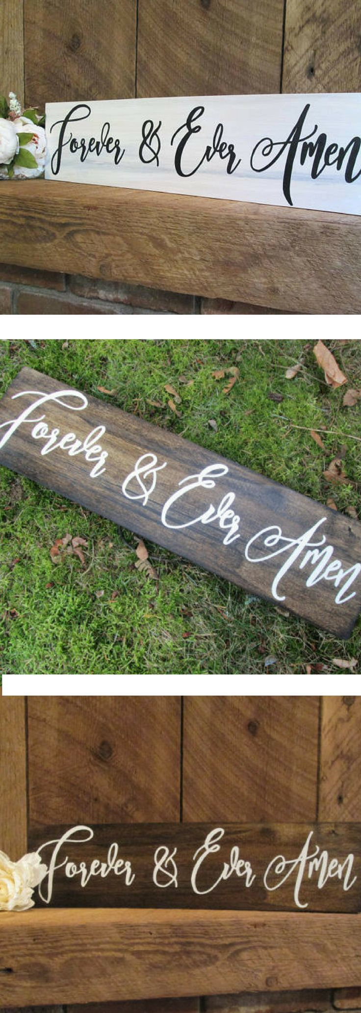 Forever and ever amen wood sign, rustic wall decor, wood anniversary gift, wood engagement sign, wood wedding sign, rustic home decor, sign , valentine's day gift idea for her, for him #ad #rustichomedecor