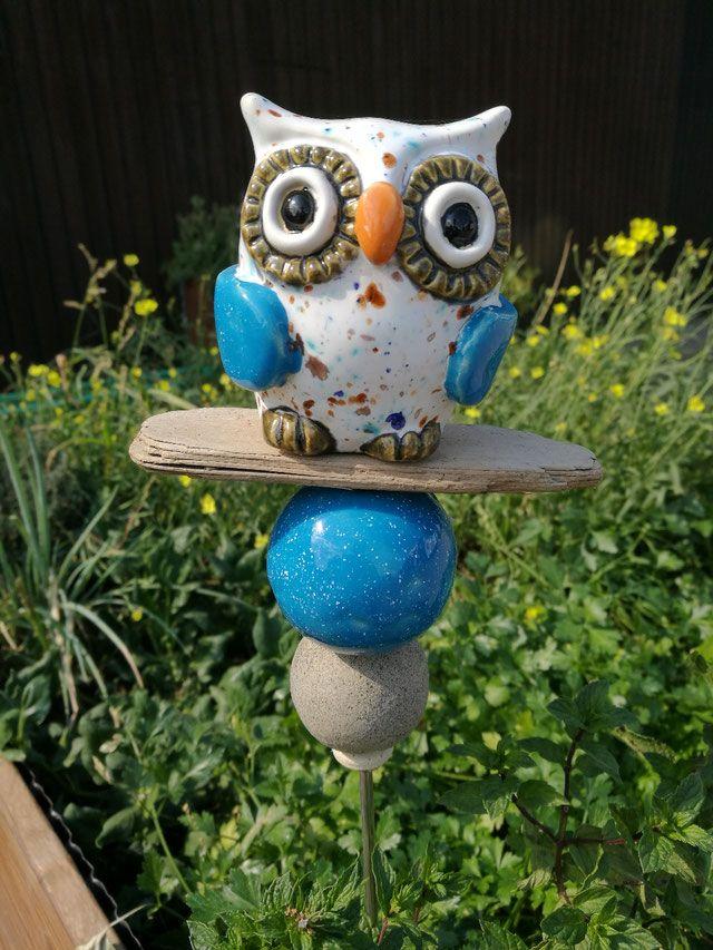 Stele Gartenstele Eule Blau Bunt Keramik Töpfern Ton Handmade