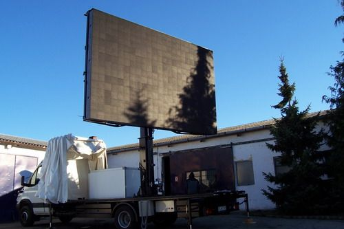 Mobile LED sign with telescoping lift built for customer's needs