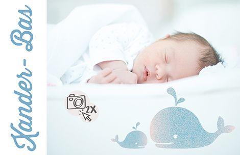 Mama en baby walvis – Geboortekaartje www.carddreams.be