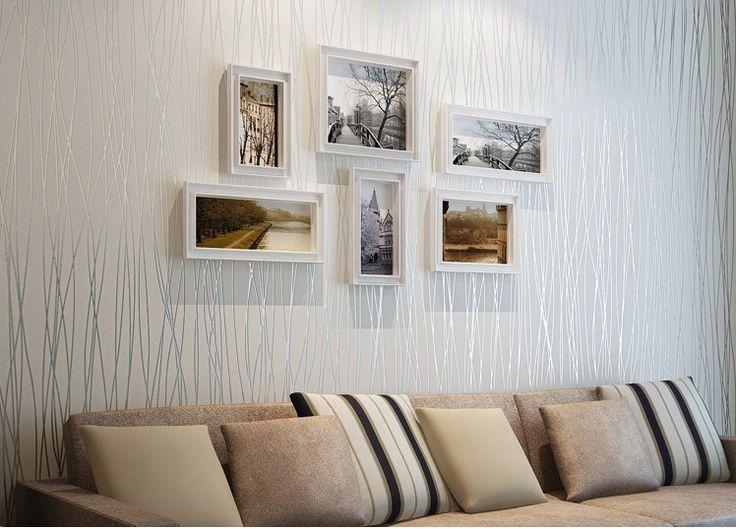 Настоящее современный Papel де Parede пункт сала без орнамента Simple вертикальный в полоску плетеная ткань напыление гостиная спальня стена обои