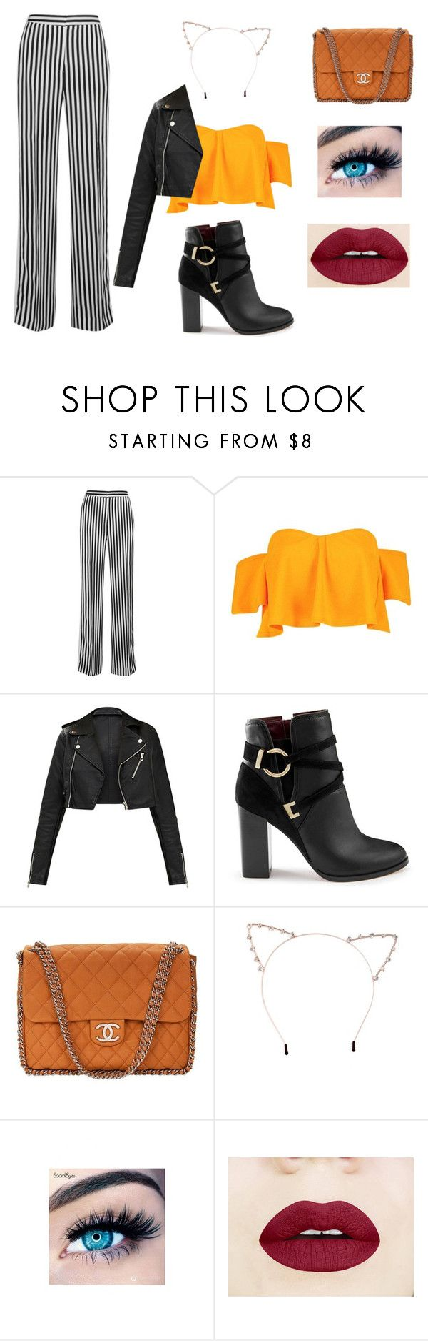 """""""Halloween Party 🎃"""" by kara-klose ❤ liked on Polyvore featuring Victoria, Victoria Beckham, Boohoo, Miss Selfridge, Chanel, Cara and MINX"""
