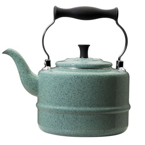 A tea kettle with a vintage feel is ideal for accessorizing a beach cottage stove top. | $40