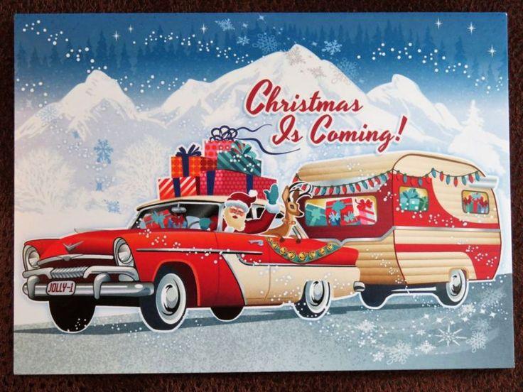 Vintage Christmas Card UNUSED ATOMIC Mid Century Santa Old Car Shasta Camper