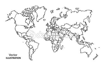 Hand drawing World Map with countries — Stock Illustration #61286267