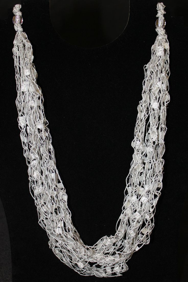 PATTERN for Crocheted Yarn Adjustable Necklace - Ladder Yarn, Ribbon Yarn. $3.50, via Etsy.