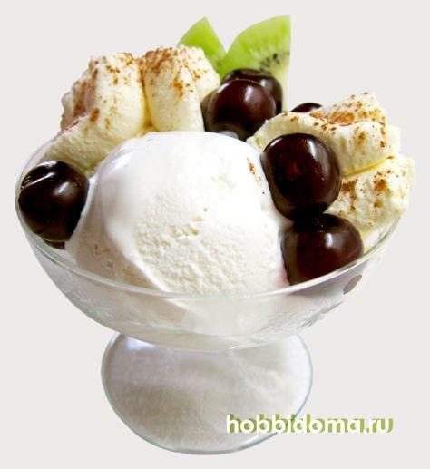 ice cream, cherries and whipped cream