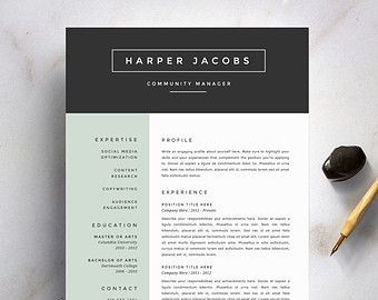 Modern Resume Template And Cover Letter Template For Word | DIY Printable 4  Pack | Professional