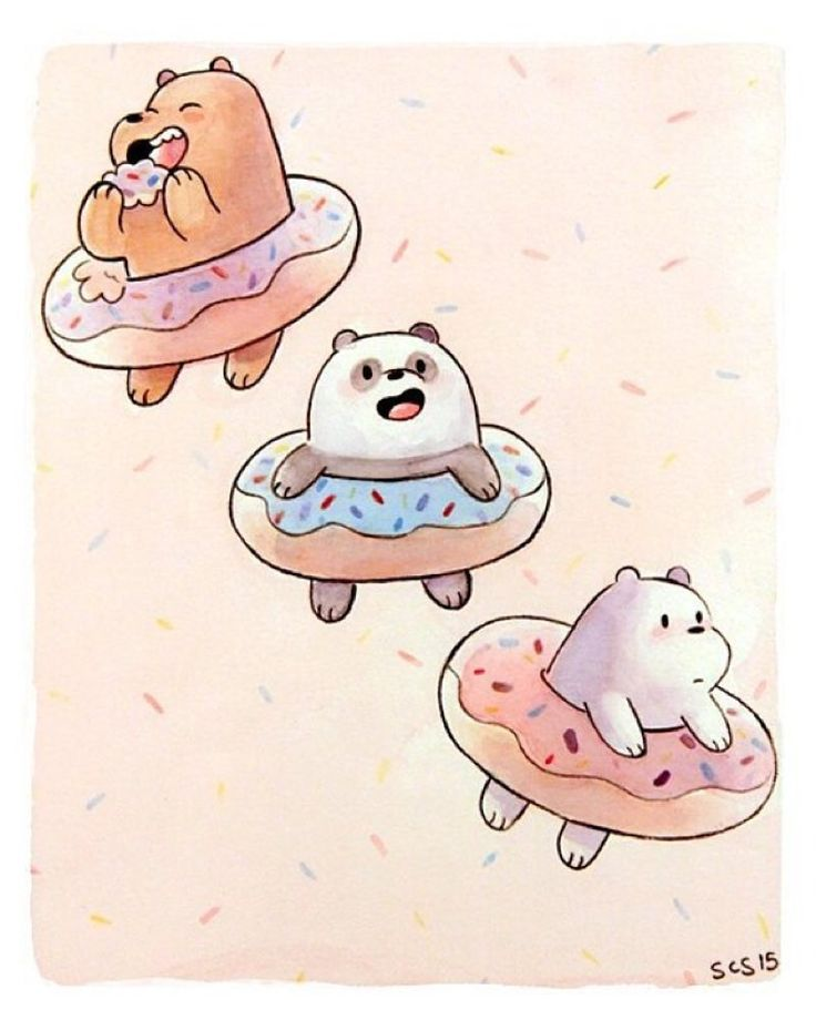 #Mondays are always better with donuts.  This print by Sarah Sobole is available from @gallerynucleus! #webarebears #kawaii by cartoonnetworkofficial You can follow me at @JayneKitsch