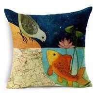Estilo Chinês Foral Lotus Mapa Pássaro Golden Fish fronha amor capa de almofada do sofá decorativa Seat Covers lençóis de algodão Almofadas Almofadas