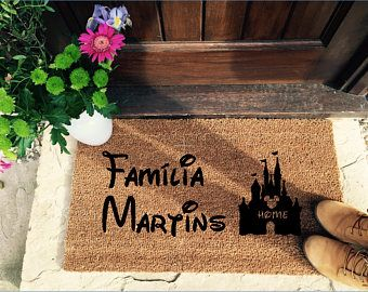 This doormat is perfect for Spanish Disney fans!   It's time to step up your door mat game. Let everyone know they are entering your Disney castle with this beautiful hand painted entrance mat.  Get yours - https://www.etsy.com/uk/listing/591195965/spanish-disney-family-mat-doormat-door?ref=shop_home_active_14
