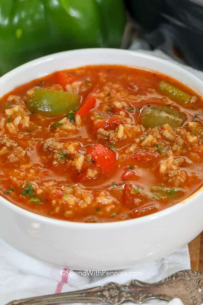 Stuffed Pepper Soup Is An Easy Soup Recipe In This Family Favorite Ground Beef And Sausage Is Simmered Stuffed Peppers Stuffed Pepper Soup Easy Soup Recipes