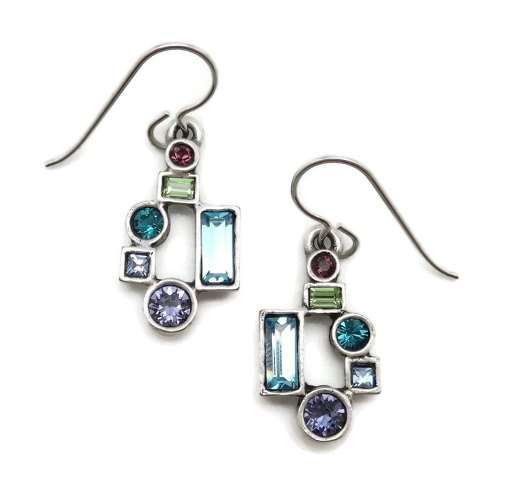 "Patricia Locke Waterlily Multi Color Gotham Swarovski Crystal Silver Plated Hook Earrings. Beautiful mix of Swarovski Crystals in Aqua, Dark Aqua, Light Blue, Green, Dark Purple and Purple - Waterlily Collection. Approximately 7/16"" wide by 1 1/4"" long including Hooks. Silver Plating over Pewter. Handmade in the USA. Lifetime Guarantee. Nickel Free. Comes in Gift Box with Organza Bag and Story Card."