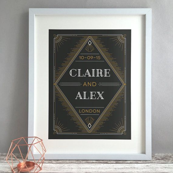 This beautiful unframed 'DECO' vintage art deco inspired personalised wedding print in a vintage style makes the perfect unique and thoughtful custom wedding gift, featuring the couples names, wedding date and location. Personalised prints act as a treasured reminder of the happy couples special day for years to come and are a truly special wedding present. The print comes unframed, just pop it in a frame (our prints are all in standard sizes so you can easily pick up a frame) and you have…