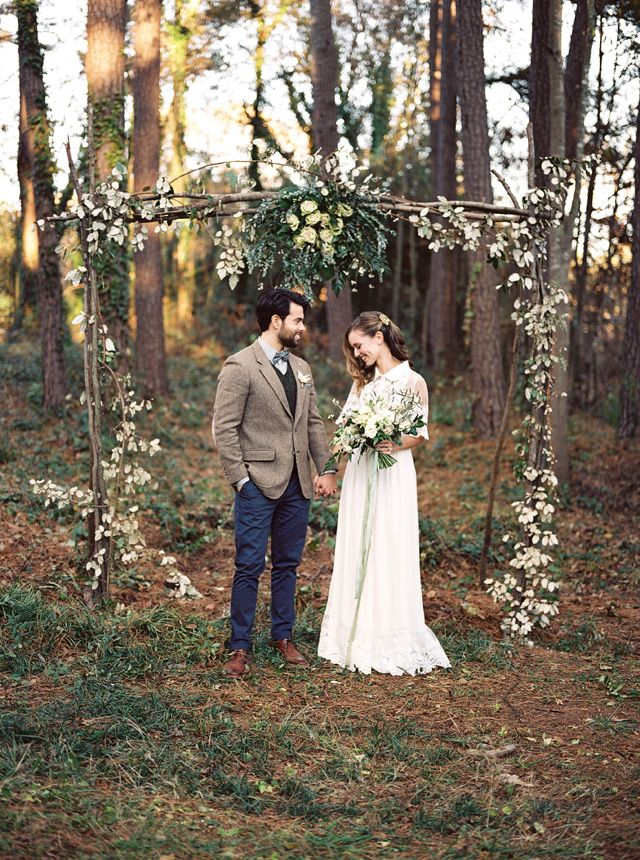 Floral adorned wedding ceremony arch | Noi Tran Photography | see more on: http://burnettsboards.com/2015/01/romantic-winter-styled-shoot/
