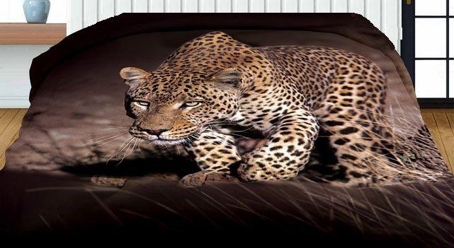 Hnedé obojstranné prehozy s potlačou leoparda