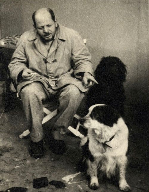 Jackson Pollock with pet dog