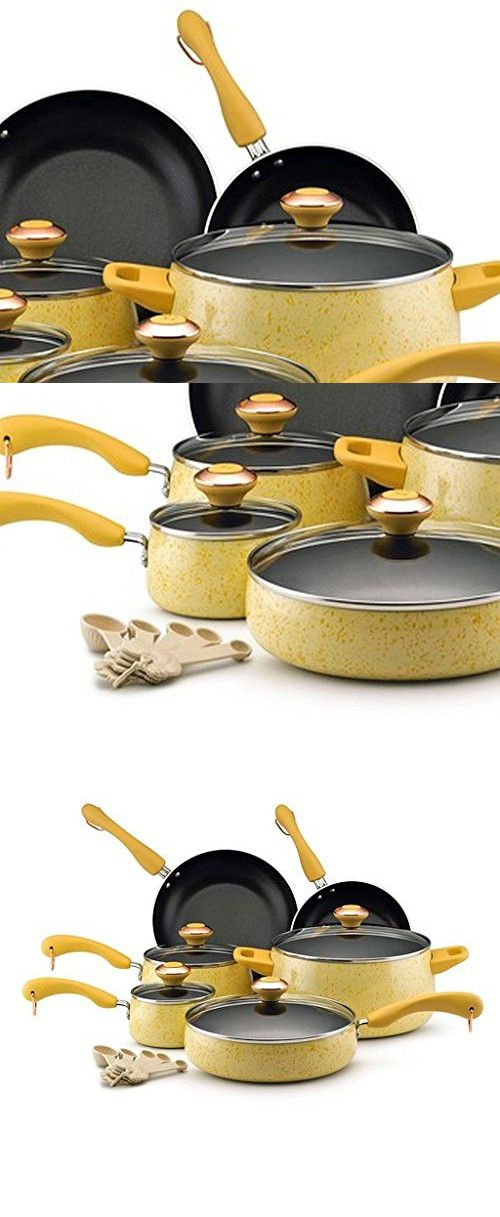 Porcelain Nonstick 15-piece Butter Speckle Cookware Set, Made From Lightweight Aluminum, The Pieces Fit Into Busy Modern Kitchens With A Nonstick Surface For Fast Clean-Up