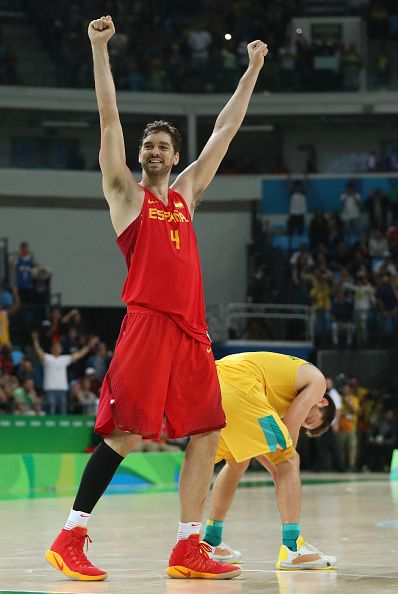 Pau Gasol of Spain celebrates winning the Men's Basketball Bronze medal game…