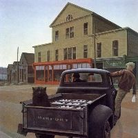 Alex Colville - The Milk Truck  Look familiar? That's where Ducky's is now.