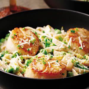 The Best Healthy Seafood Recipes: Seafood Recipe, Pasta Dishes, Scallops Recipe, Creamy Scallops, Pasta Recipe, Cream Sauces, Peas Fettuccine, Seared Scallops, Healthy Seafood