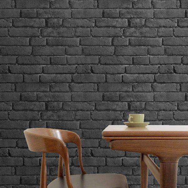 Dibnah brick black charcoal office space design for Brick wallpaper office