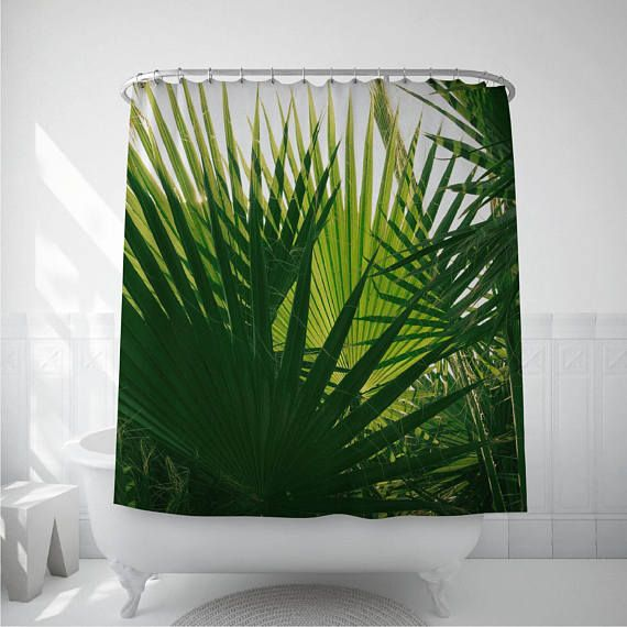 Shower Curtain With Palm Tree Leaves Tropical Home Decor