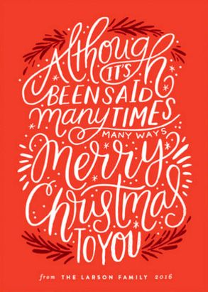 Christmas Phrase Merry Christmas Holiday Card by Minted artist, Alethea and Ruth. Customizable by you on Minted.